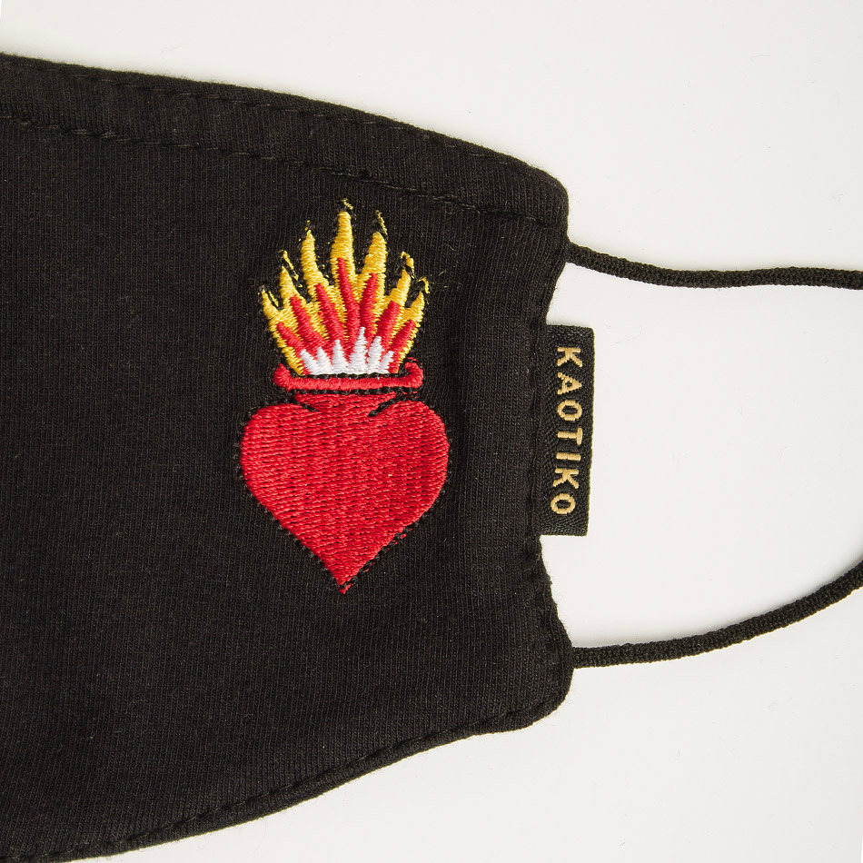 Heart Fire Black Face Mask