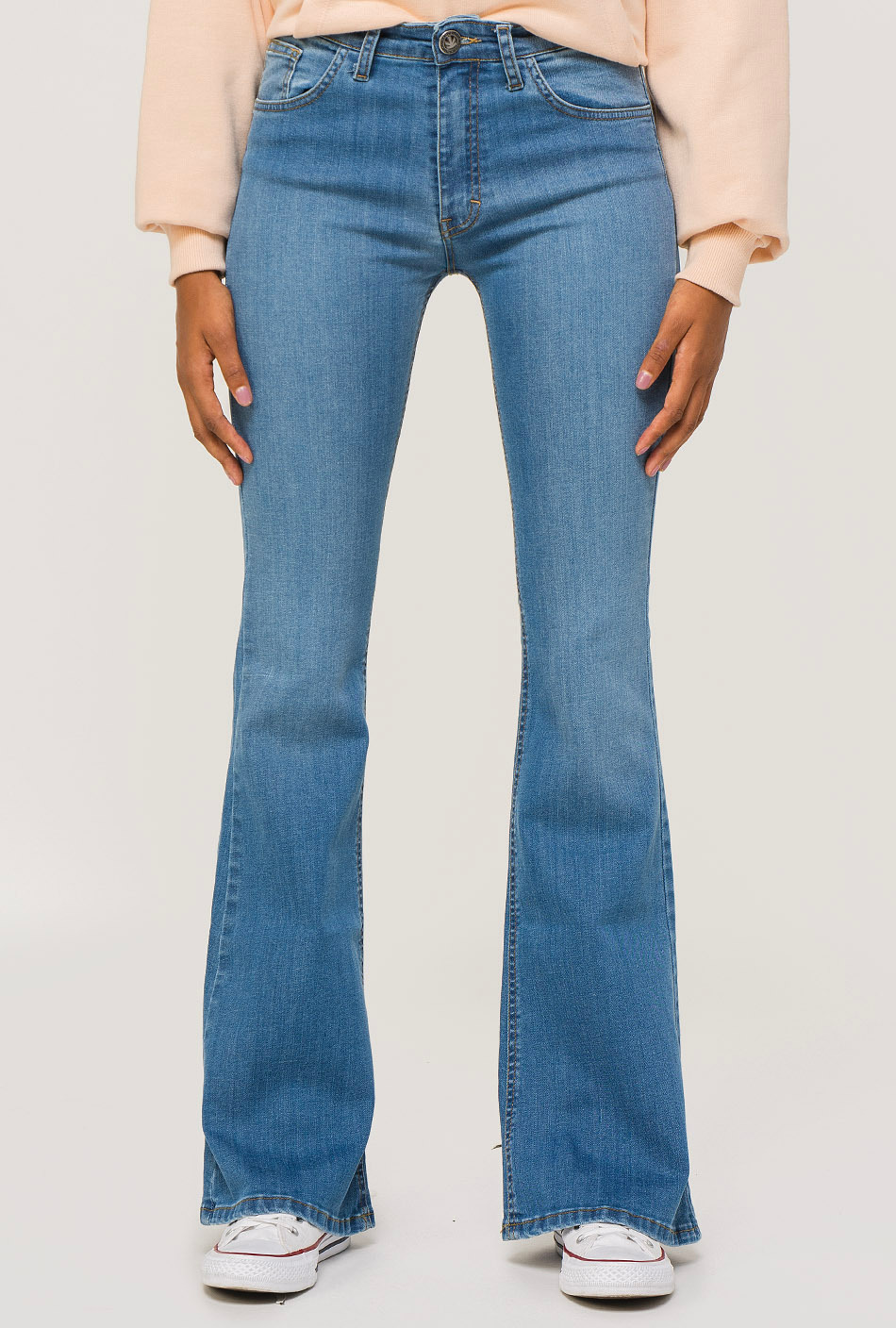 Flare denim used trousers
