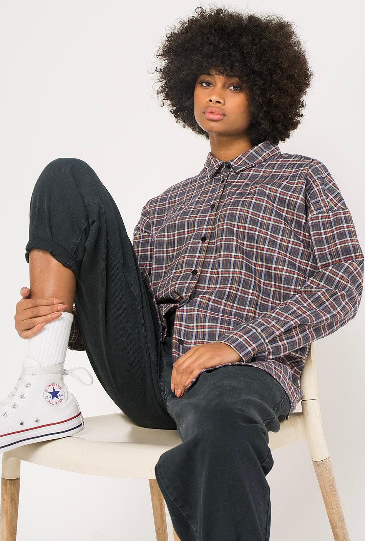 Kaotiko Grey Plaid Shirt
