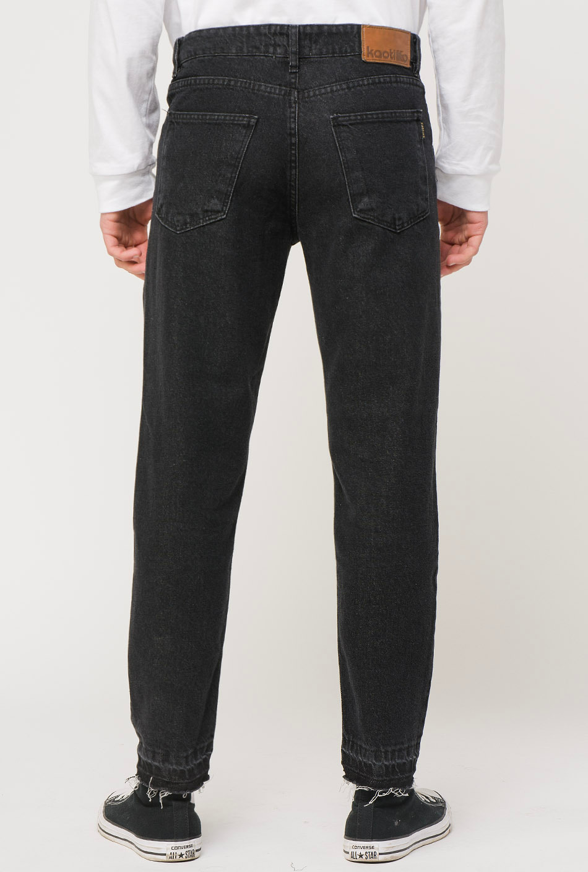 Cropped Black Denim Trousers