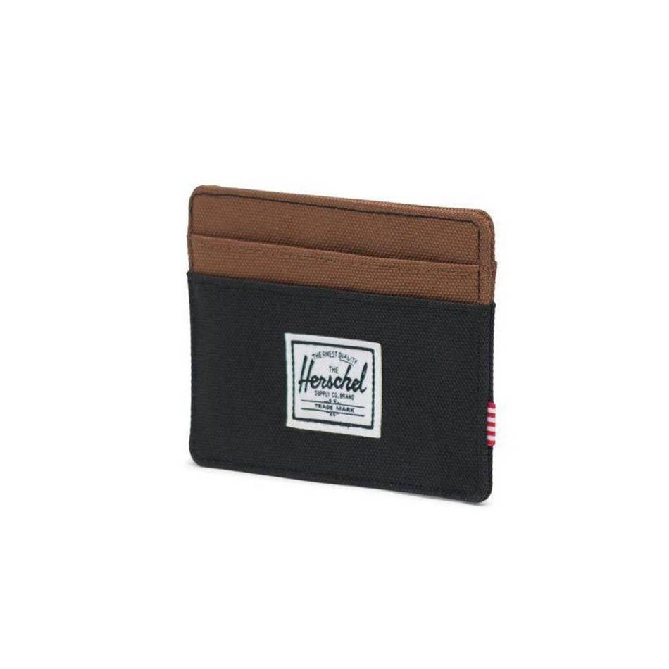 Herschel Charlie Black / Saddle Brown RFID Wallet Card Holder
