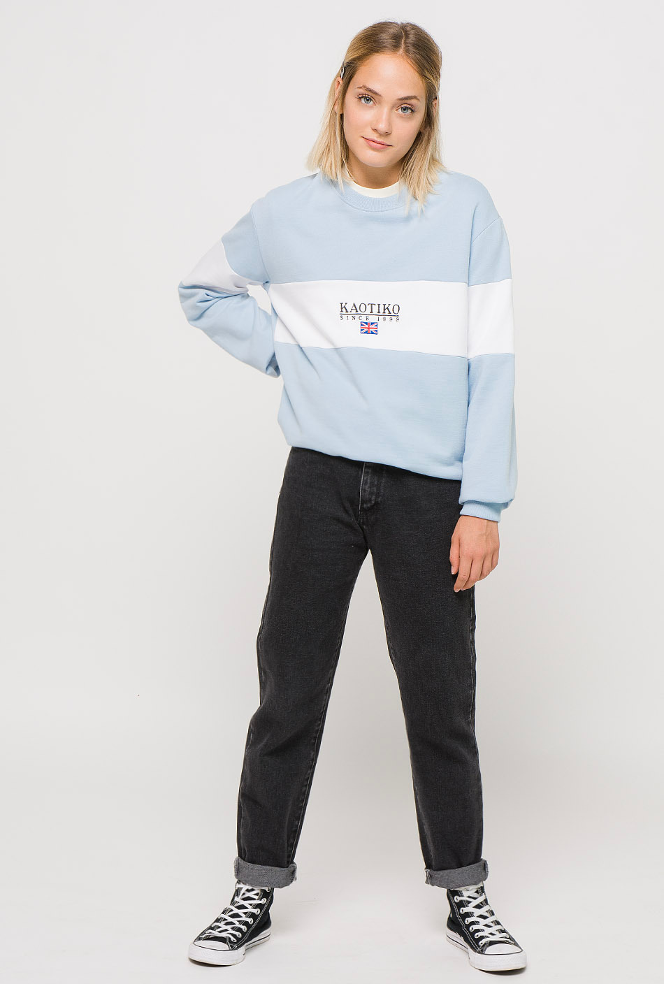 Brooke blue/white sweatshirt