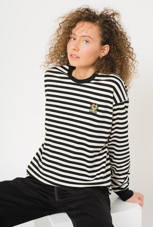 Camiseta M/L Heart Rayas Negro/Crudo