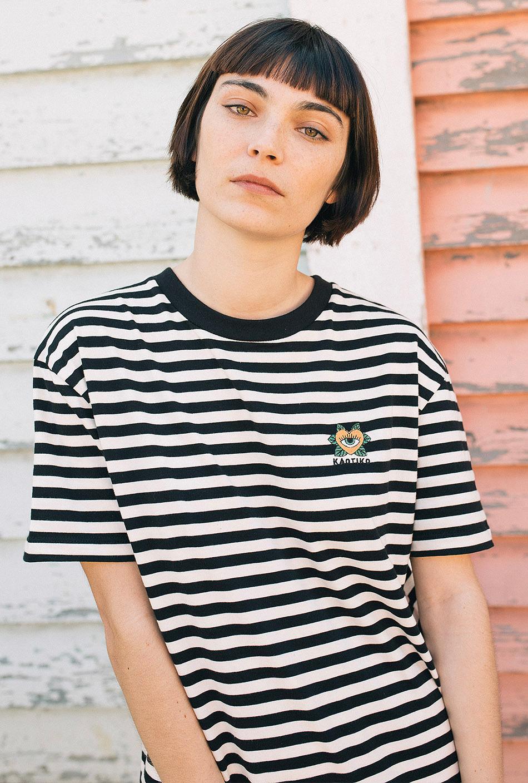Heart Black/Off White Striped T-Shirt