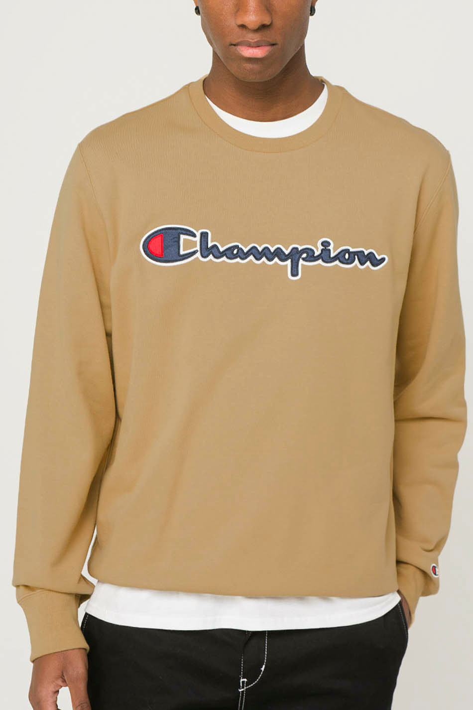 Champion Script Logo Brown Hoodie