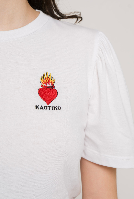 Camiseta Heart Blanca Mangas Abullonadas