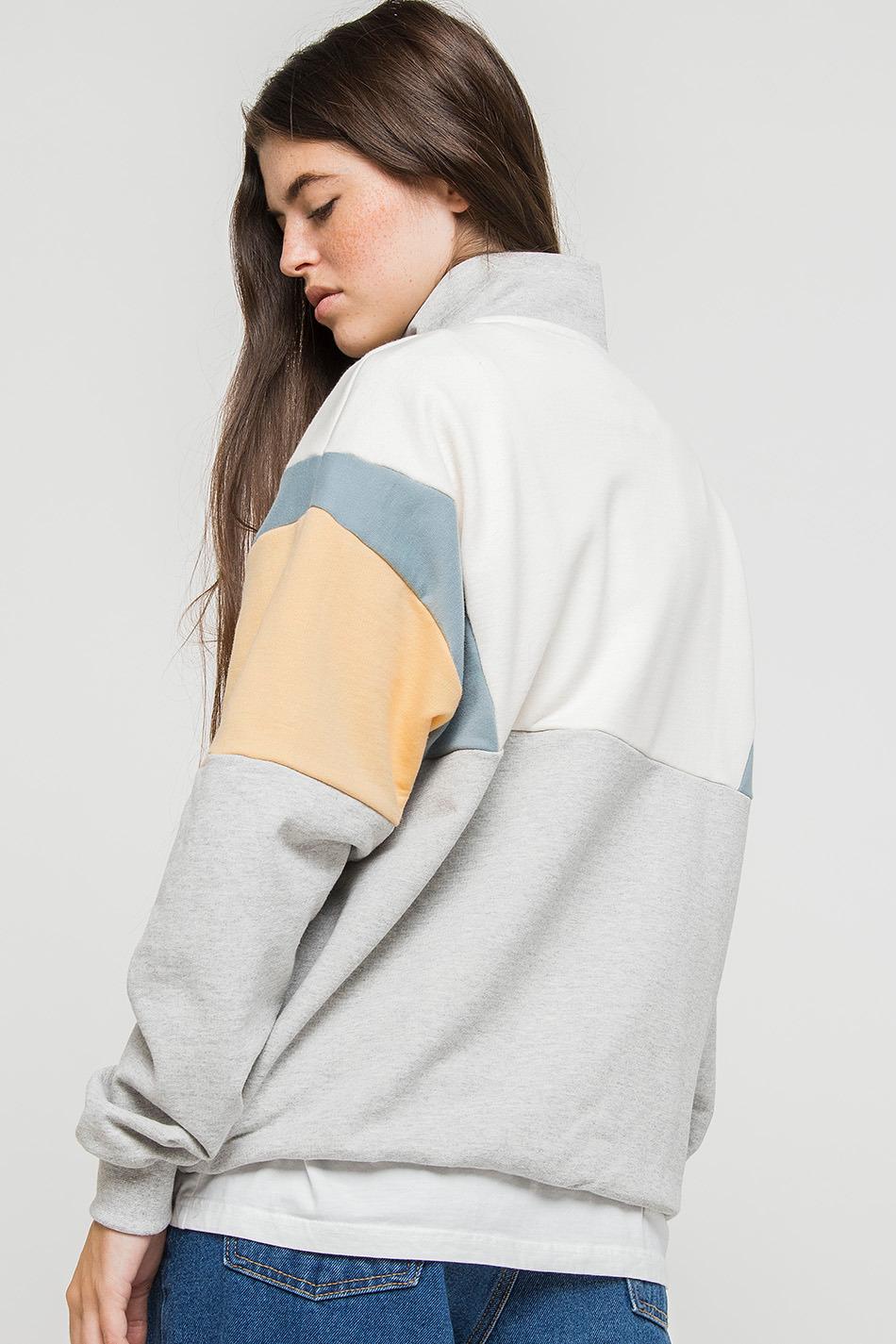 Colin Sweatshirt in Grau/Cremeweiß
