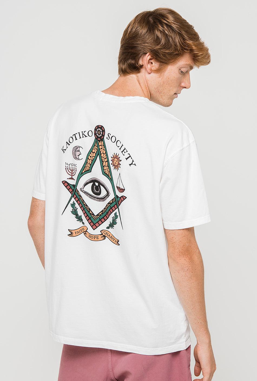 Kaotiko T-Shirt Freimaurer in Weiß