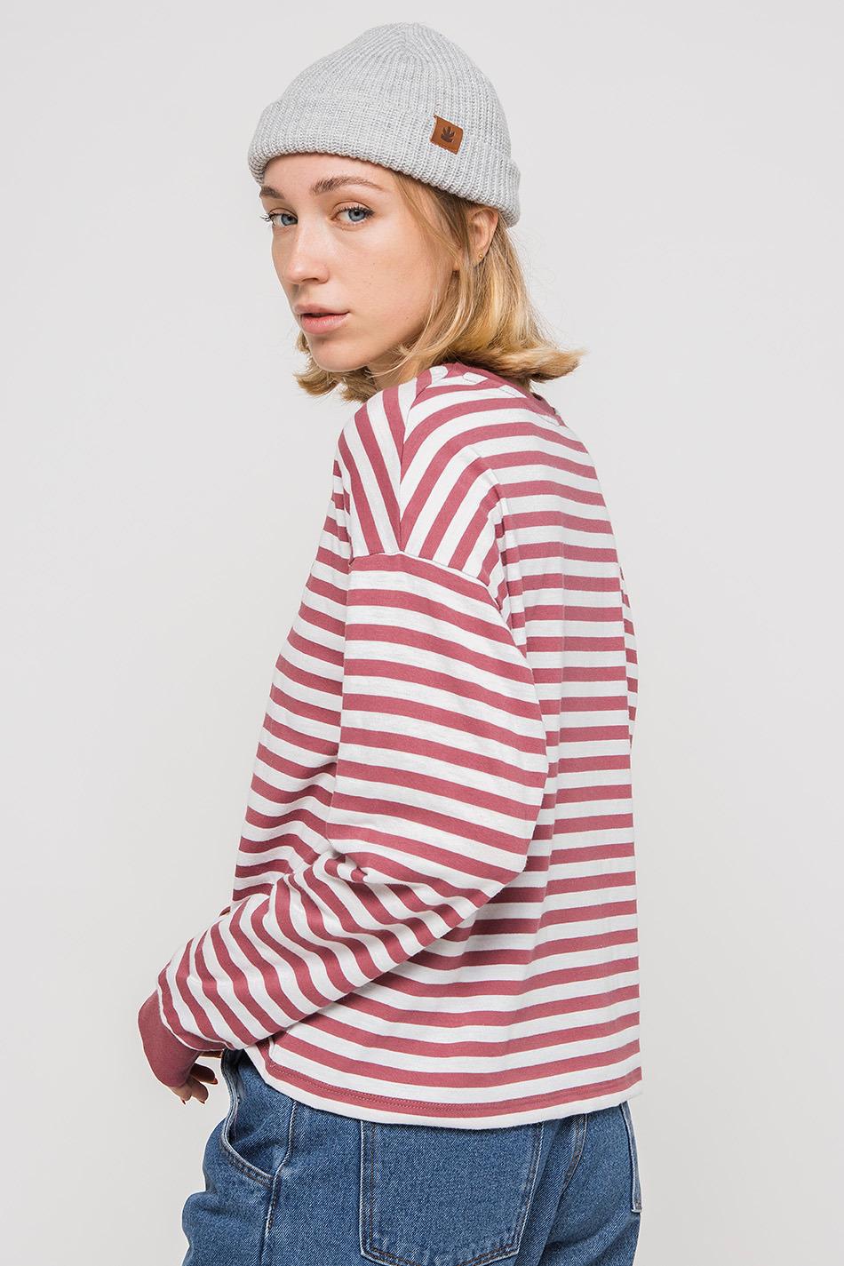 Camiseta Stripe Burgundy Heart