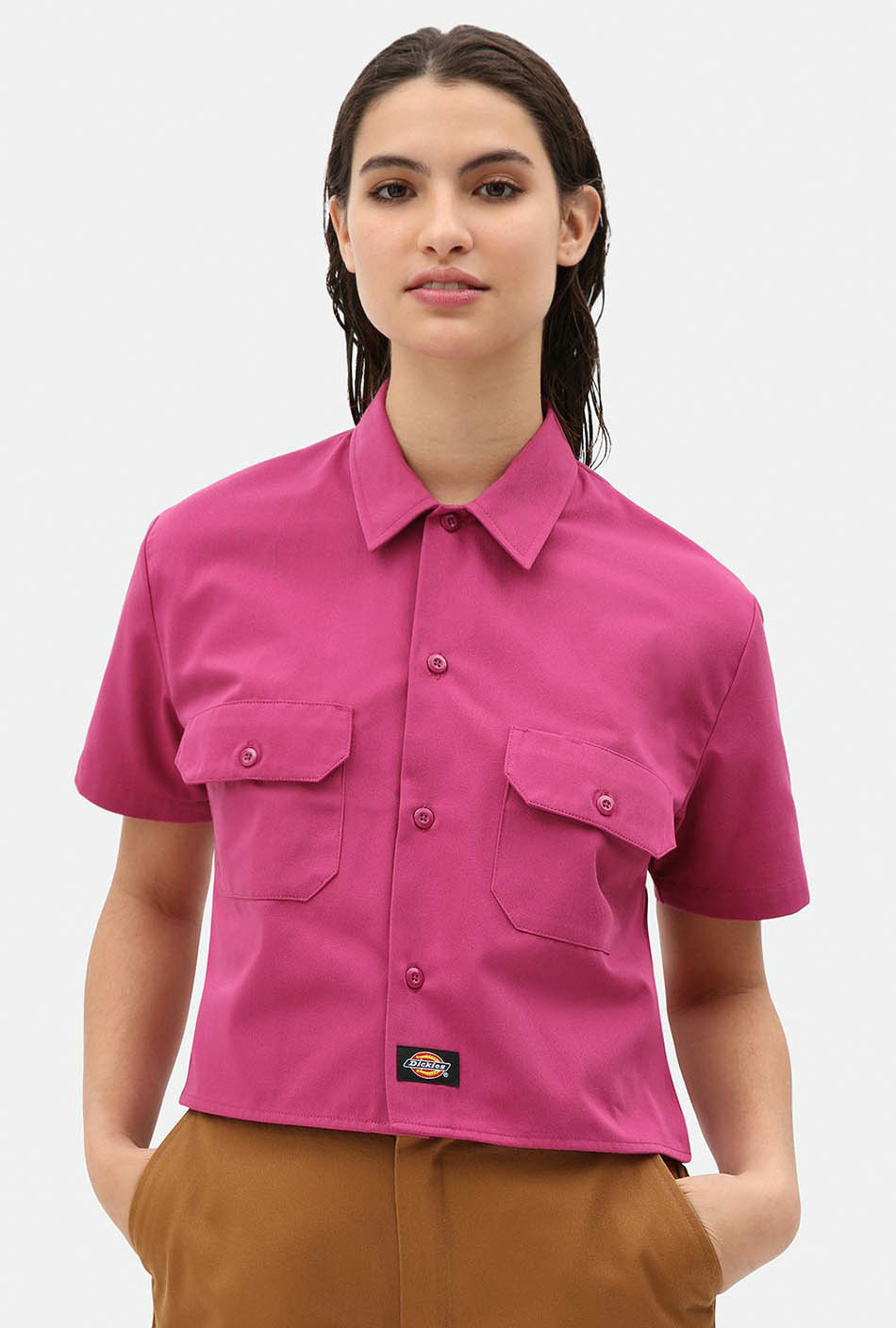 Dickies Cropped Work Shirt Pink Berry