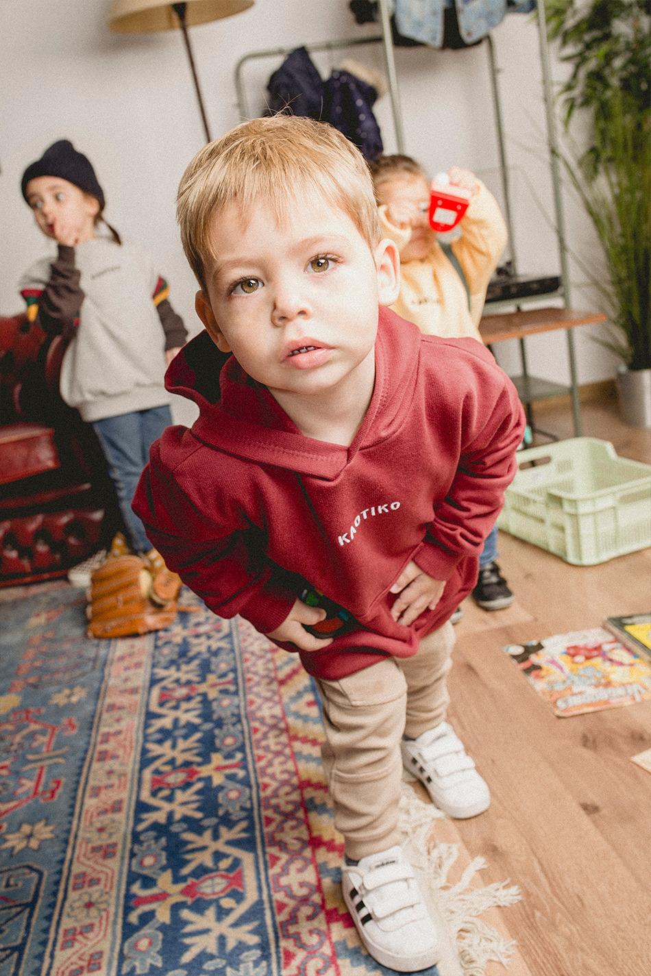 Basic Kapuzenpullover in Granate Kid