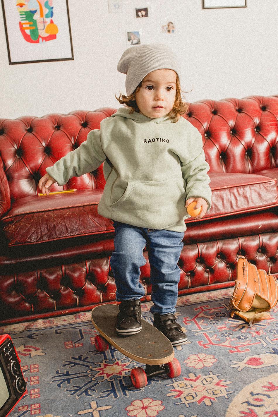 Basic Kapuzenpullover in Fresh Green Kid