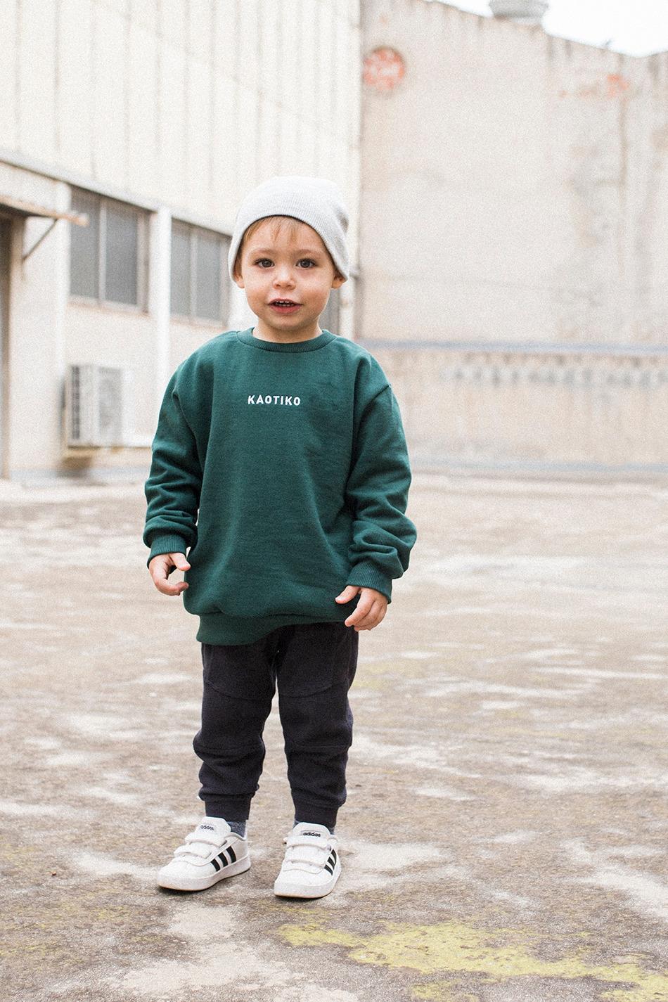 Basic Kapuzenpullover Grün Kid