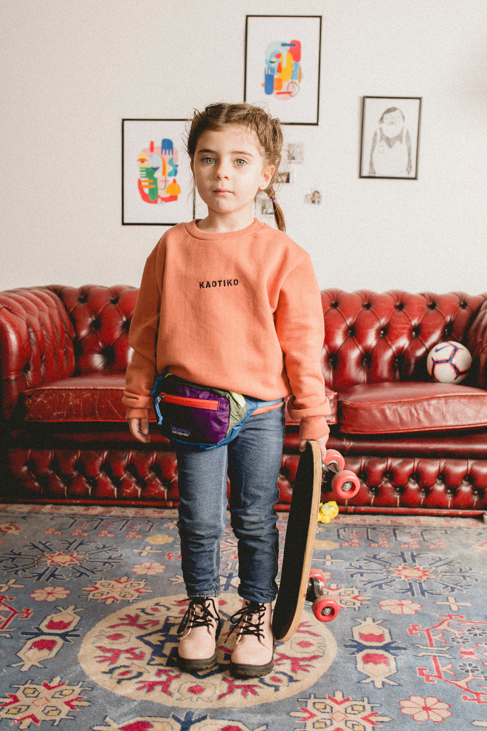 Basic Kapuzenpullover Aprikose Kid