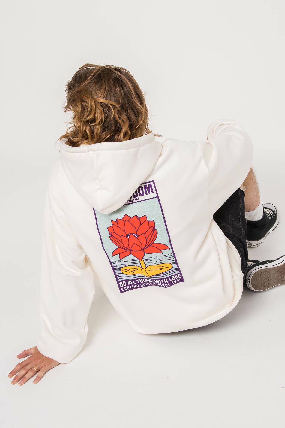 Lotus Bloom Ivory Hoodie