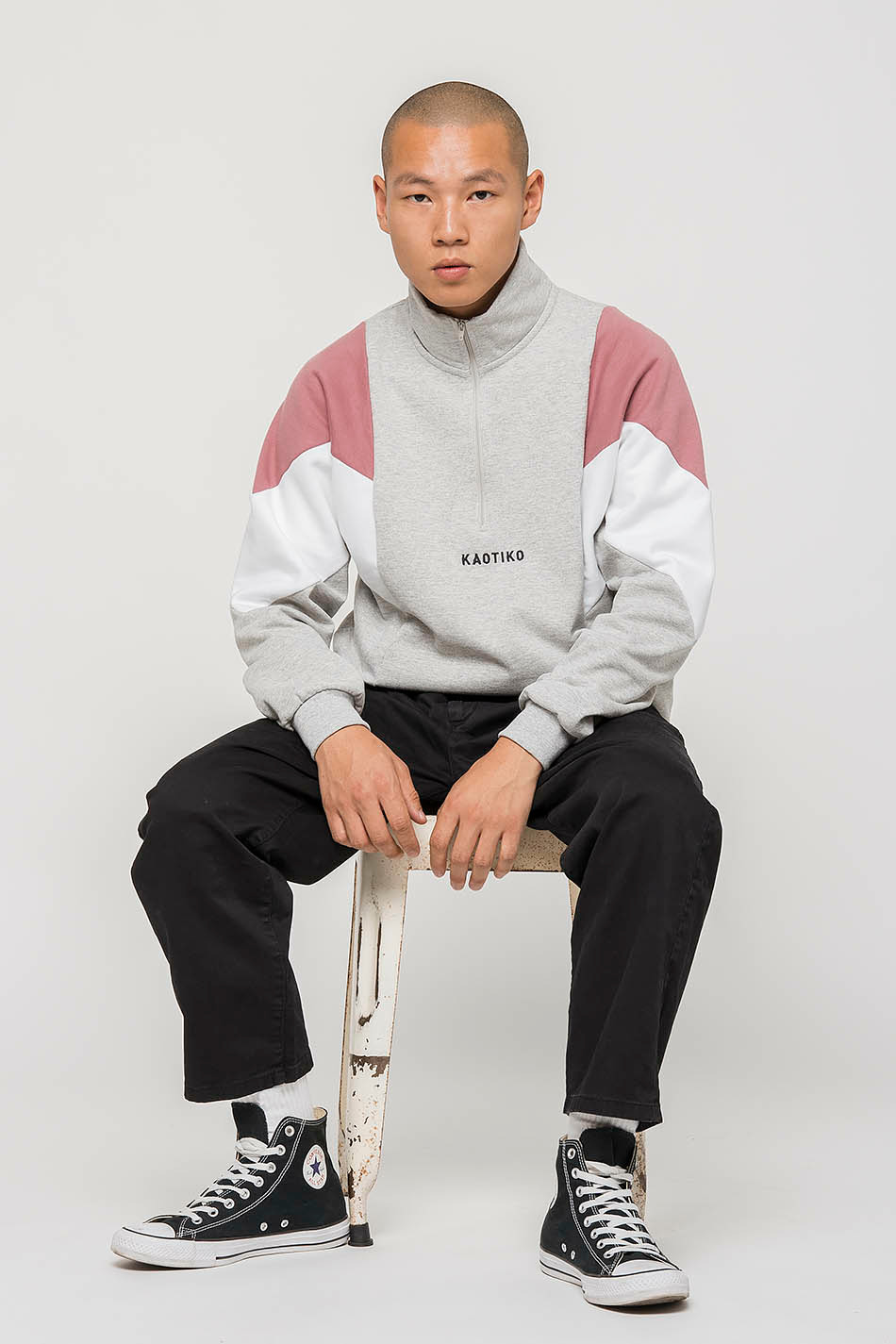 Grey/Soft Burgundy Brendan Sweatshirt