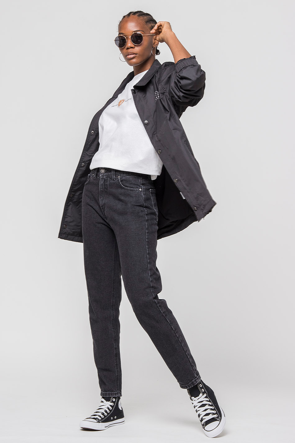 black oversize denim trousers
